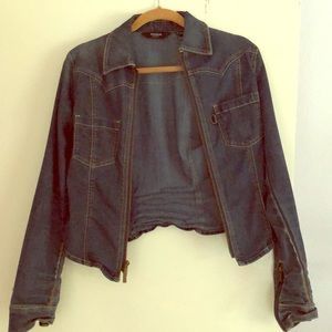 Express denim fitted jacket, top size small